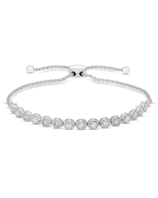 Jared The Galleria Of Jewelry Diamond Bolo Bracelet 1 ct tw Round Sterling Silver