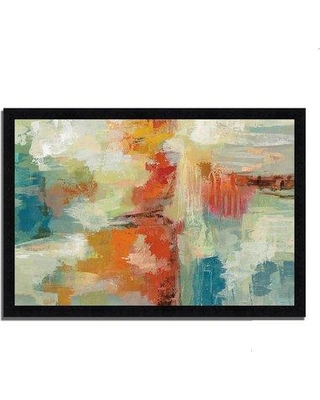 """Wrought Studio 'Coral Reef' Framed Acrylic Painting Print W000362740 Format: Black Framed Size: 24"""" H x 36"""" W x 1.5"""" D"""