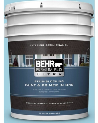 BEHR ULTRA 5 gal. #M480-3 Bengal Blue Satin Enamel Exterior Paint and Primer in One