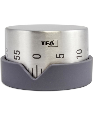 TFA 2.76 in. Round Dot Kitchen Silver and Black Timer