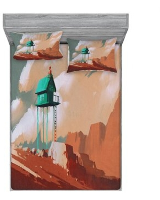 Little Wood House on Stone Hill with Robot on the Cloudy Roof Calming Sheet Set East Urban Home
