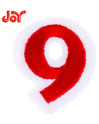 """Red Embroidered Iron-On Number 9 - 1 1/2"""""""