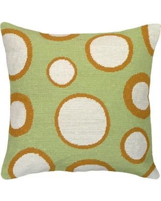 123 Creations Dots Needlepoint Wool Throw Pillow C73118x18 Color: Green