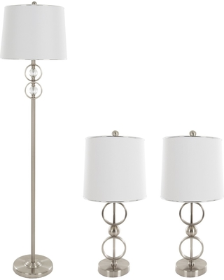 Table Lamps and Floor Lamp Modern Set of 3 (3 LED bulbs included) Brushed Steel - Yorkshire Home
