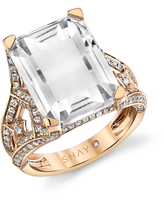 SHAY White Topaz & Diamond Tower Ring, Size 7 in Rose Gold at Nordstrom