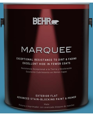 BEHR MARQUEE 1 gal. #550D-6 Blue Chaise Flat Exterior Paint and Primer in One