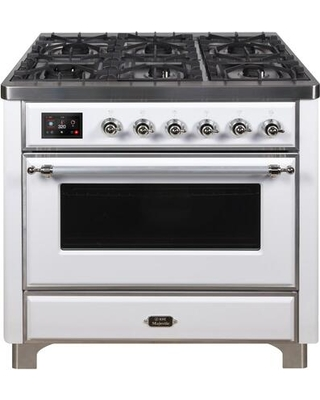 """UM09FDNS3WHC 36"""" Majestic II Series Dual Fuel Natural Gas Range with 6 Burners and Griddle 3.5 cu. ft. Oven Capacity TFT Oven Control Display"""