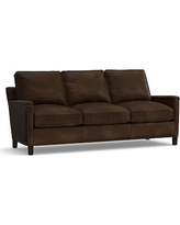 Tyler Leather Sofa with Bronze Nailheads, Down Blend Wrapped Cushions, Leather Vintage Cocoa