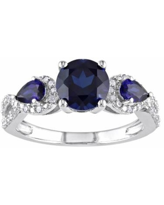 Stella Grace Sterling Silver Lab-Created Blue Sapphire & 1/6 Carat T.W. Diamond 3-Stone Infinity Ring, Women's