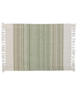 DII Striped Fringe Placemats in Thyme (Set of 6)