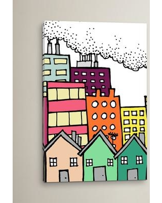 """East Urban Home 'Dirty City' Painting Print on Wrapped Canvas ESTN7608 Size: 40"""" H x 26"""" W x 0.75"""" D"""