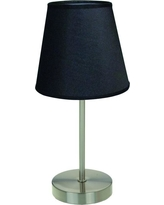 Simple Designs 10 in. Sand Nickel Mini Basic Table Lamp with Black Fabric Shade