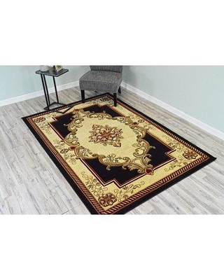 """Astoria Grand Ramsel 3D Traditional Oriental Floral Power Loomed Black/Beige Area Rug BF209635 Rug Size: Rectangle 5'2"""" x 7'5"""""""
