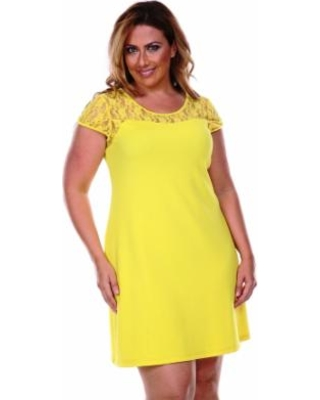 a8c52a7101 Find the Best Deals on Plus Size White Mark Lace-Trim Fit   Flare ...