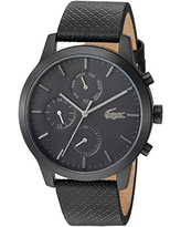 Lacoste Black pvd Quartz Watch with Leather Strap, 19 (Model: 2010997)