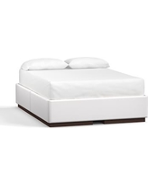 Upholstered Storage Queen Bed, Twill White