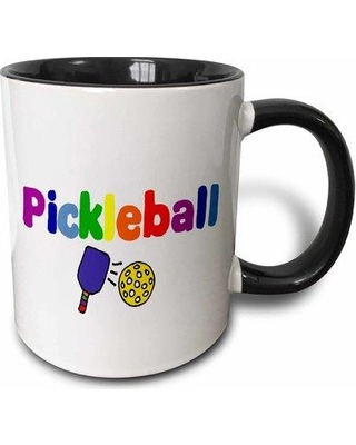 East Urban Home Pickle Ball Letters and Paddles Coffee Mug W000107913 Color: Black