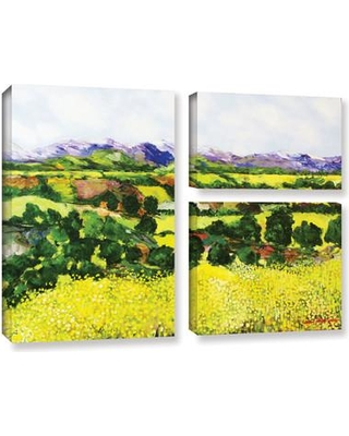 Darby Home Co Yellow Weeds 3 Piece Painting Print on Wrapped Canvas Set DRBC3054