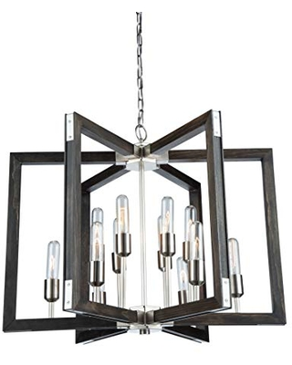 Artcraft Lighting AC11652BN Transitional 12 Light Chandelier from Gatehouse Collection in Pewter, Nickel, Silver Finish, 21.00x27.00x27.00