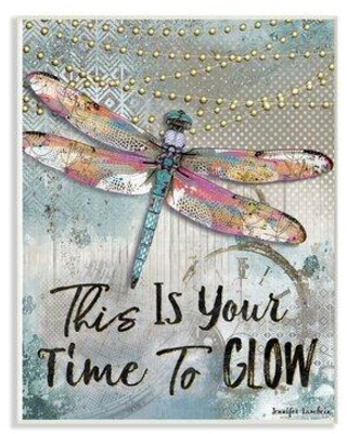 """Winston Porter 'Lights This Is Your Time To Glow Inspirational Dragonfly' Graphic Art Print X112275124 Format: Wrapped Canvas Size: 20"""" H x 16"""" W x 1.5"""" D"""