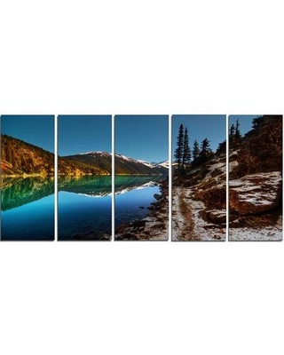 """Design Art ' Clear Lake w/ Mountains' 5 Piece Photographic Print on Wrapped Canvas Set, Canvas & Fabric in Blue, Size Medium 25""""-32"""" 