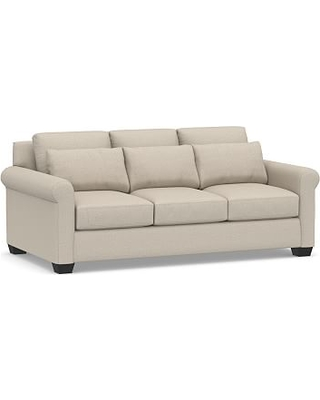 "York Roll Arm Upholstered Deep Seat Sofa 84"", Down Blend Wrapped Cushions, Performance Chateau Basketweave Oatmeal"