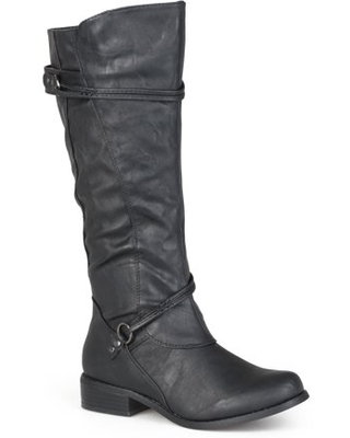 Womens Regular Sized and Wide-Calf Ankle-Strap Buckle Knee-High Riding Boot