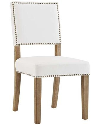 Oblige Collection EEI-2547-IVO Dining Chair with Nailhead Trim Dense Foam Padding Non-Marking Foot Caps Solid Natural Rubberwood Legs and Velvet