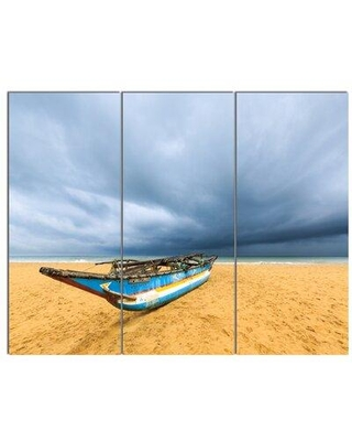 Design Art 'Fishing Boat On Beach with Dark Clouds' 3 Piece Photographic Print on Wrapped Canvas Set PT14811-3P