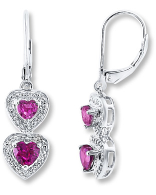 Lab-Created Ruby Lab-Created Sapphire Sterling Silver Earrings