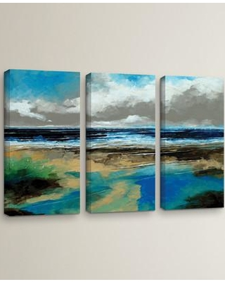 "Breakwater Bay Seascape I 3 Piece Painting Print on Wrapped Canvas Set BRWT2117 Size: 36"" H x 54"" W x 2"" D"