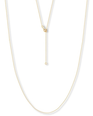 """16"""" Adjustable Cable Chain 14K Yellow Gold Appx. .7mm"""