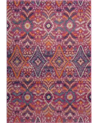 Ikat Design Loomed Accent Rug 3'X5' - Safavieh, Multicolored Pink
