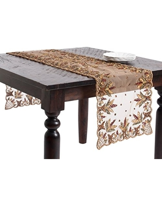 """SARO LIFESTYLE Multicolor Hand Beaded Design Table Runner - 16""""x72"""" Oblong"""