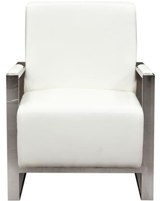 """Century CENTURYCHWH 28"""" Accent Chair with Stainless Steel Arm Angled Metal Legs and Bonded Leather Upholstery in White"""