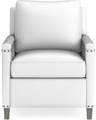Addison Recliner, Nailhead, Standard Cushion, Pebbled Leather, White, Grey Leg