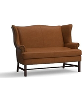 Thatcher Leather Settee, Polyester Wrapped Cushions, Signature Maple