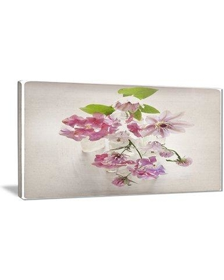 """East Urban Home 'Vintage Pink Flowers' Photographic Print on Canvas EAAE7990 Size: 32 """" W x 16 """" H"""