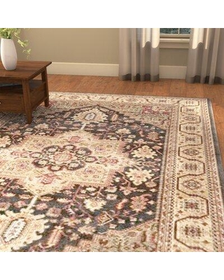 "Astoria Grand Pennypacker Oriental Navy/Natural Area Rug, Polypropylene in Ivory/Cream, Size Rectangle 6'7"" x 9'2"" 