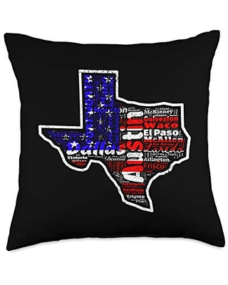 I Love My State And My City Apparel Co Texas Map Cities Vintage United States Flag Outline Throw Pillow, 18x18, Multicolor