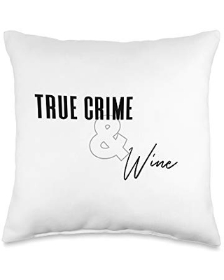 The Elder Millennial True Crime and Wine Throw Pillow, 16x16, Multicolor