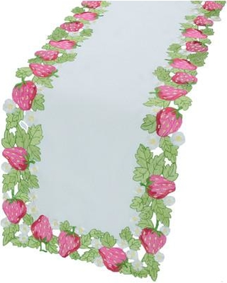 """Xia Home Fashions Strawberry Patch Embroidered Cutwork Table Runner XD81721248 / XD81721634 Size: 48"""" L x 12"""" W"""