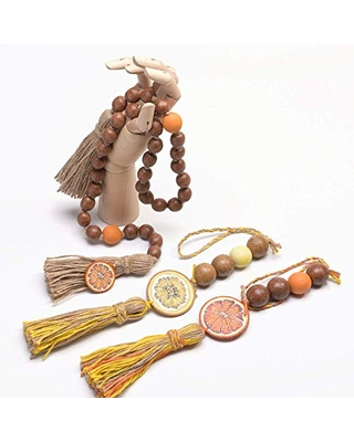 Hand Painted Prayer Beads with Tassels Natalia Tykhoniuk Wooden Bead Garland Farmhouse Beads for Rustic Home D/écor Made In Ukraine Exquisite Craftsmanship