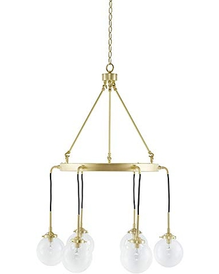 INK+IVY II150-0081 Clive Six Modern Chandeliers-Metal Frame, Clear Glass Sphere Shade Pendant Ligthing Lamp Ceiling Dining Room Lighting Fixtures Hanging, See Below, Gold