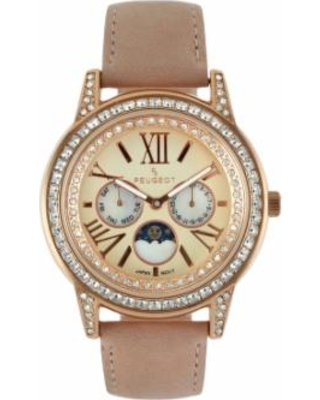 Peugeot Women's Leather Moon Phase Watch, Pink