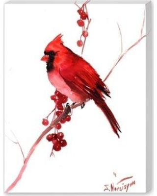 """Andover Mills 'Red Cardinal Bird' Painting Print on Gallery Wrapped Canvas W001498909 Size: 20"""" H x 16"""" W x 1.5"""" D"""