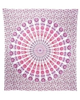 Bohemian Cotton Tapestry Mandala Wall Hanging Hippie Decorative Bedspread Dorm Décor (White)
