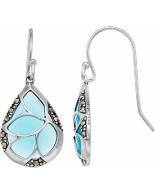 f59206167 Tori Hill Sterling Silver Marcasite & Blue Glass Teardrop Earrings, Women's