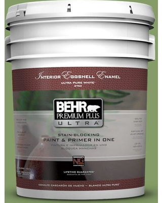 BEHR Premium Plus Ultra 5 gal. #M370-5 Agave Plant Eggshell Enamel Interior Paint and Primer in One