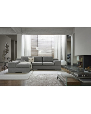 Amazing Deal On Romeo Light Gray Woven Fabric Sectional Sofa Chaise Light Gray